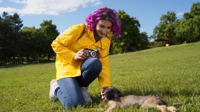 vidéos et rushes de jeune femme avec les cheveux violets caressant le chiot - seulement des jeunes femmes