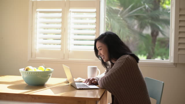 ms young woman working at home on her laptop - using laptop stock videos & royalty-free footage