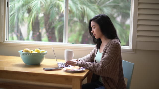 ms young woman working on her laptop at home - cardigan sweater stock videos & royalty-free footage