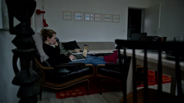 vídeos y material grabado en eventos de stock de a young woman working on her laptop comfortably on her couch on a cold winter day - toma ancha