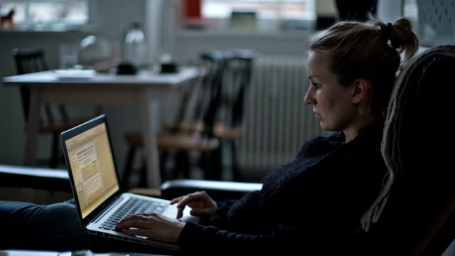 A young woman working on her laptop comfortably on her couch on a cold winter day