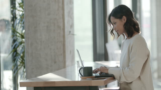 ms young woman working on her laptop in a office - using laptop stock videos & royalty-free footage