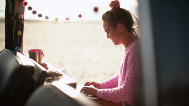 ms young woman working on laptop in her camper van - remote location stock-videos und b-roll-filmmaterial