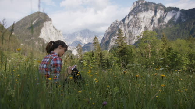 young woman writing notes in a notebook while sitting in a field - note pad stock videos & royalty-free footage