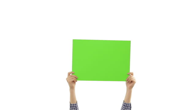 Young woman's hands holding a blank green placard.