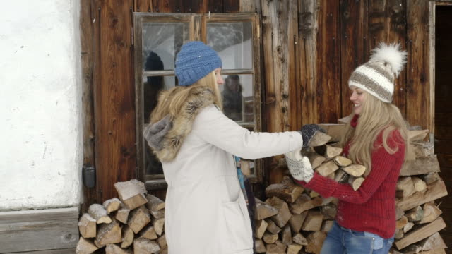 young women carrying firewood - ski jacket stock videos & royalty-free footage