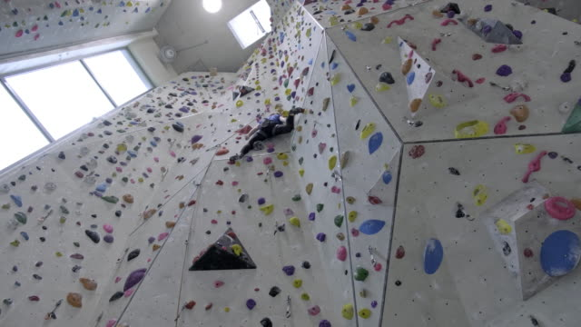 young women climbing on indoor climbing wall - climbing equipment stock videos & royalty-free footage