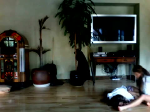/ young women copying risky business dance move / one girl slides across the floor and slips and falls woman wipes out doing risky business dance... - unterwäsche stock-videos und b-roll-filmmaterial
