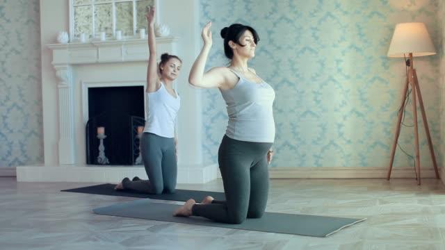 vídeos de stock, filmes e b-roll de jovens mulheres fazendo yoga meditação e exercícios de alongamento - full hd format