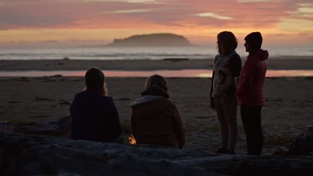 young women gather around campfire and talk on the beach at sunset. - camp fire stock videos & royalty-free footage