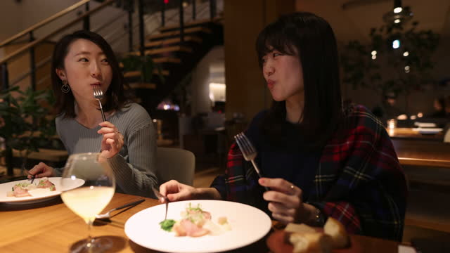 young women having dinner in fancy restaurant - part 1 of 2 - catering building stock videos & royalty-free footage