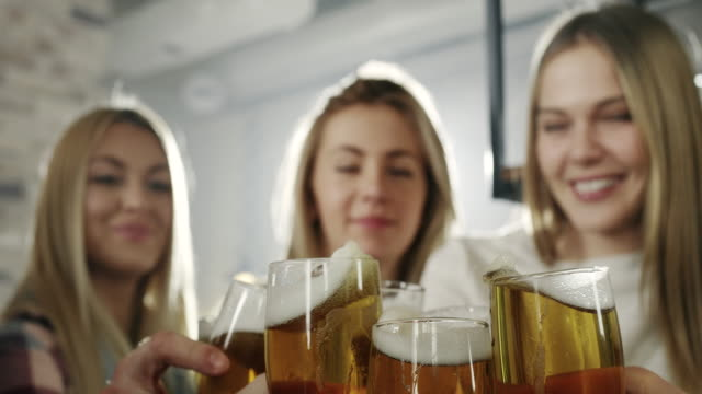 young women in a bar - drinking beer stock videos and b-roll footage