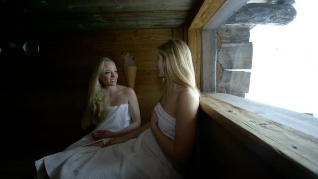 young women in sauna - sauna stock videos & royalty-free footage
