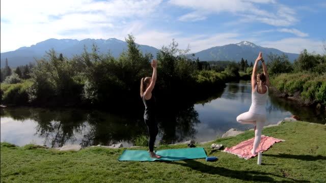 vídeos de stock, filmes e b-roll de jovens mulheres realizam movimentos de yoga ao lado de mountain creek - pose de arvore