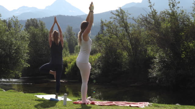 young women perform yoga moves on grassy slope, creek behind - ärmelloses oberteil stock-videos und b-roll-filmmaterial