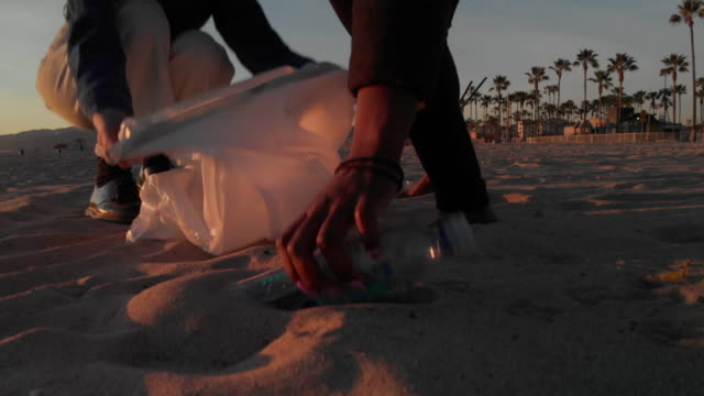 young women picking up trash on the beach - pulizia dell'ambiente video stock e b–roll