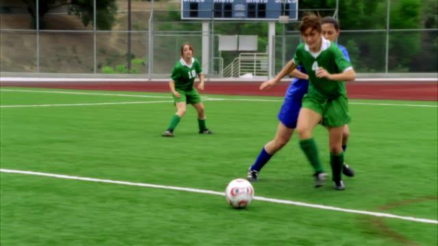 SLO MO, MS, PAN, Young women playing soccer, Biola University, La Mirada, California, USA