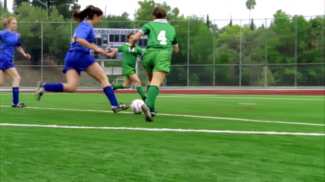 slo mo, ms, pan, young women playing soccer, biola university, la mirada, california, usa  - number 4 stock videos & royalty-free footage