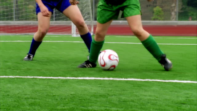 slo mo, ms, pan, young women playing soccer, biola university, la mirada, california, usa  - amateur stock-videos und b-roll-filmmaterial