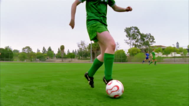 SLO MO, MS, CU, SHAKY, Young women playing soccer, Biola University, La Mirada, California, USA