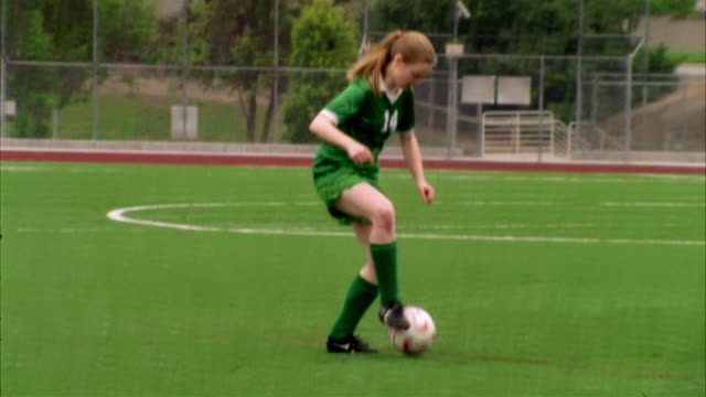 slo mo, ms, young women playing soccer, biola university, la mirada, california, usa  - amateur stock-videos und b-roll-filmmaterial