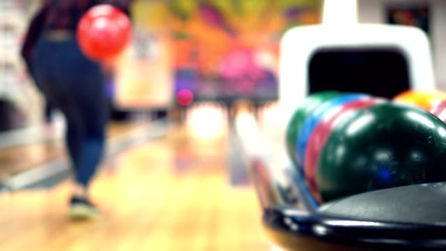 young women plays bowling - ten pin bowling stock videos & royalty-free footage