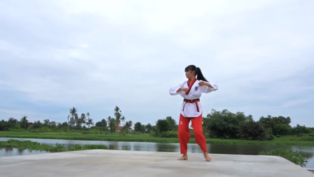 young women practising martial arts outdoors, slow motion - korean culture stock videos & royalty-free footage