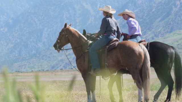 young women ranchers on their horses as friend holds lassoed steer - utah stock videos & royalty-free footage