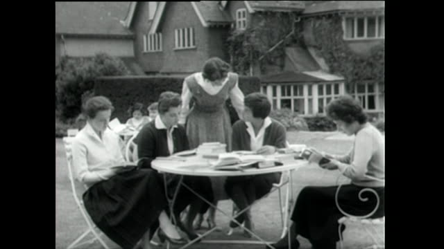 young women read books outdoors at finishing school; 1955 - 1955 stock videos & royalty-free footage