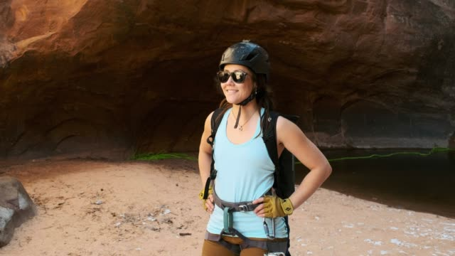young women rock climber in moab utah usa - climbing equipment stock videos & royalty-free footage
