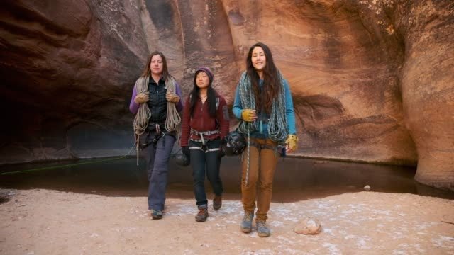 young women rock climbers in moab utah usa - climbing equipment stock videos & royalty-free footage
