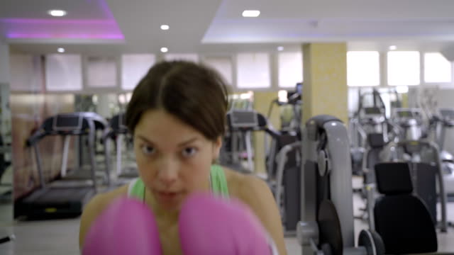 young women train boxing in the gym. - comment box stock videos & royalty-free footage