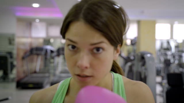 young women train boxing in the gym,slow motion - comment box stock videos & royalty-free footage