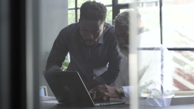 younger african american businessman helps older man on computer, medium shot - 民間人点の映像素材/bロール