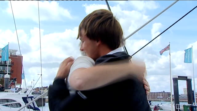 youngest round-the-world yachtsman returns to portsmouth; mike perham interview sot - incredible to be back - its definitely sinking in / it's... - improvement stock videos & royalty-free footage