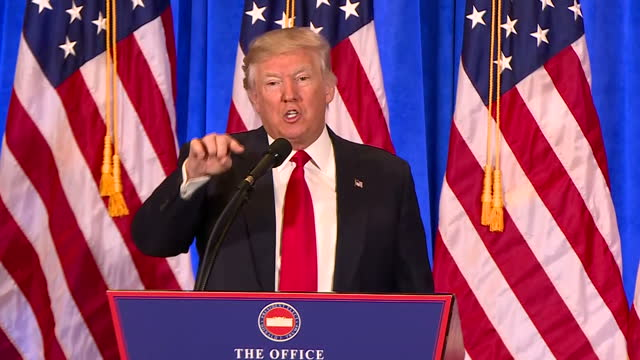 """you're fake news."" that was donald trump's angry denunciation of cnn at today's press conference. the broadcaster had provoked him with its... - press conference stock videos & royalty-free footage"