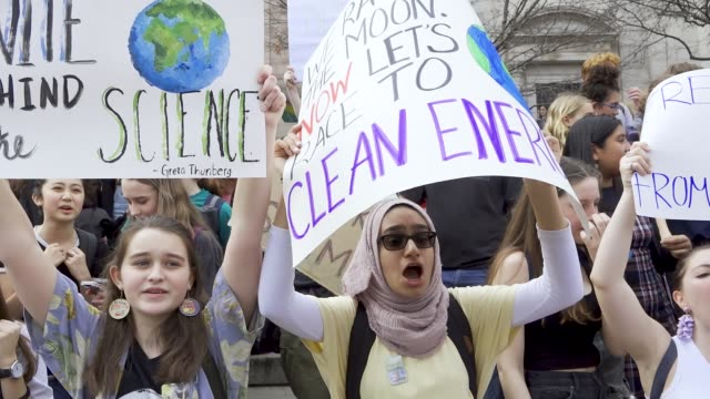 youth climate strike students of all ages rallied in downtown manhattan's city hall park and marched uptown to columbus circle where they rallied... - climate stock videos & royalty-free footage