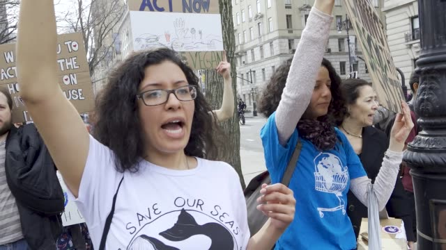 youth climate strike students of all ages rallied in downtown manhattan's city hall park and marched uptown to columbus circle where they rallied... - individual event stock videos & royalty-free footage