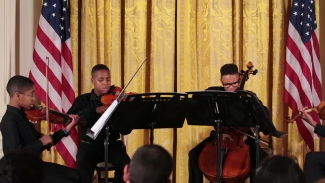 Youth from the Sphinx Organization performed at the 2016 National Arts and Humanities Youth Program Awards ceremony in the East Room of the White...