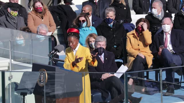 youth poet laureate amanda gorman speaks during the inauguration of u.s. president joe biden on the west front of the u.s. capitol on january 20,... - poet stock videos & royalty-free footage