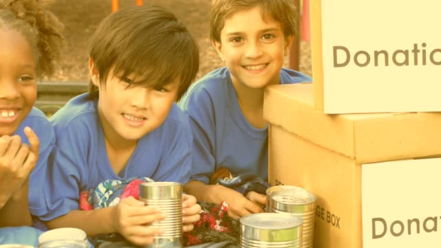 youth sports team collects items for disaster relief - donation box stock videos & royalty-free footage