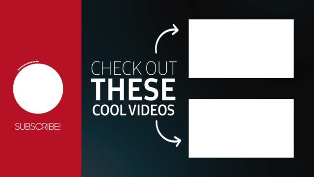 youtube endbildschirm grafikkarte vorlage für ihren kanal. sehen sie sich die nächsten bildschirme und abonnieren-taste. v3 - vorlage stock-videos und b-roll-filmmaterial