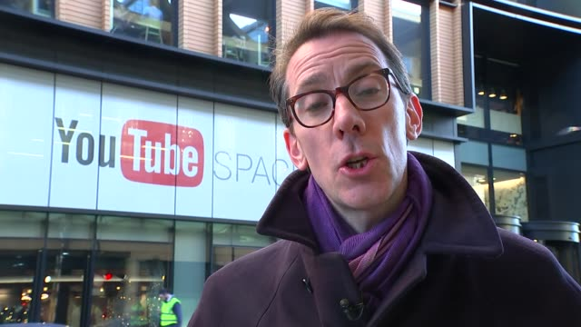 YouTube grooming allegations EXT YouTube sign in window of London Headquarters Reporter to camera