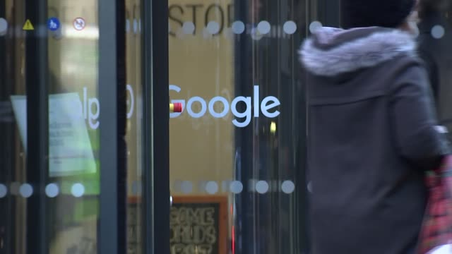 London King's Cross EXT GVs YouTube Space / 'Google' sign on doors