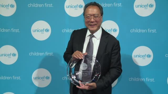 interview yoyo ma talks about growing children into healthy adults and the importance of music at unicef children's chamption award dinner honoring... - the castle stock videos and b-roll footage