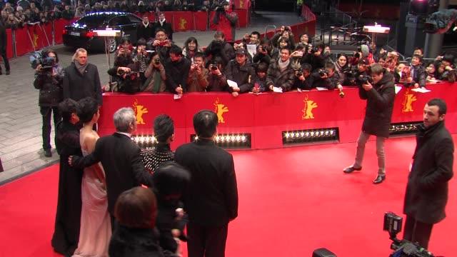 stockvideo's en b-roll-footage met yu dong, zhou xun, hark tsui, kwai lun mei, shi nansun at flying swords of dragon gate premiere: 62nd international berlin film festival 2012 at... - mei