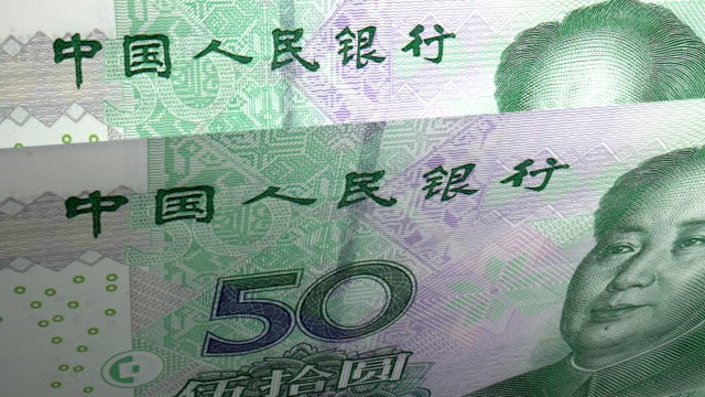 50 yuan chinese local currency paper money - chinese currency stock videos & royalty-free footage
