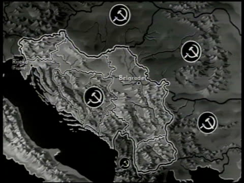 MAP Yugoslavia animated 'Iron Curtain' separating Yugoslavia Russia
