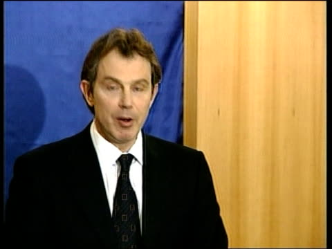 kosovo nato air attacks begin pool germany berlin british prime minister tony blair mp press conference sot if there is retaliation against nato... - nato stock videos & royalty-free footage