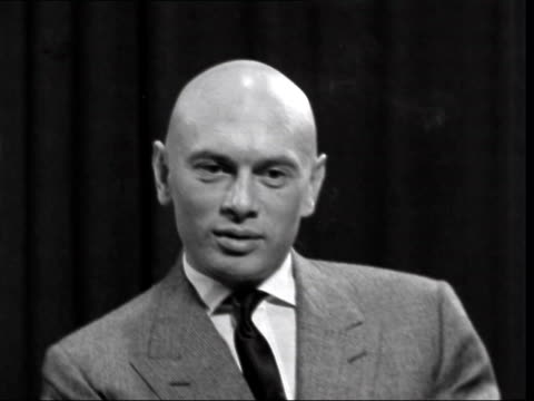 london lap yul brynner interview sof on replacing friend tyrone power in 'solomon and sheba' shaving his head - shaving stock videos & royalty-free footage